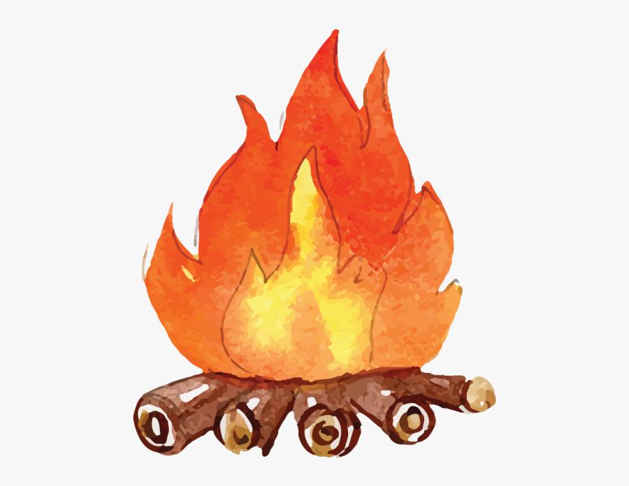 Watercolor Camp Fire, Transparent Clipart