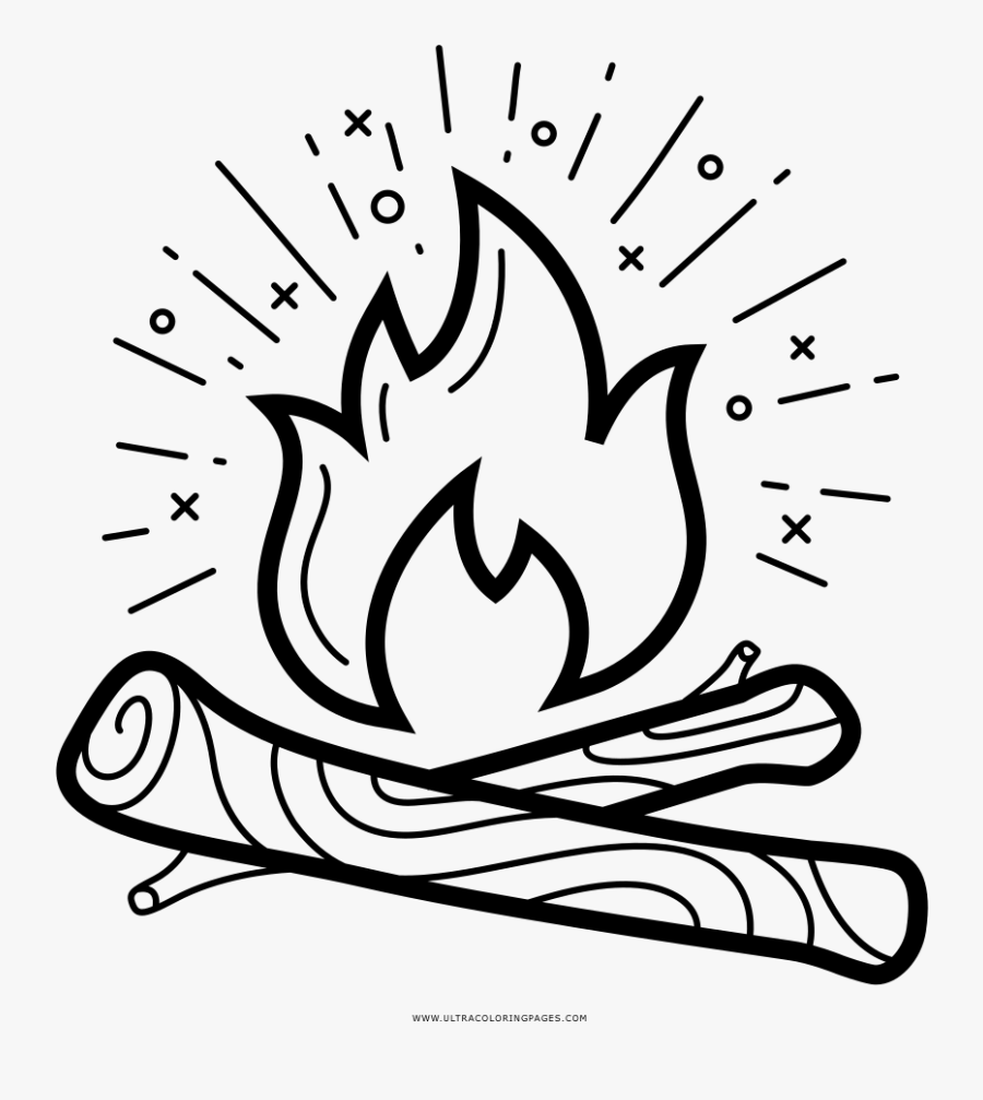 Campfire Coloring Page - Camp Fire Coloring Pages, Transparent Clipart