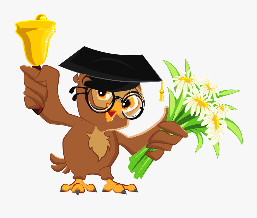 Owl With School Bell Png Clipart Picture - School Bell Clipart, Transparent Clipart