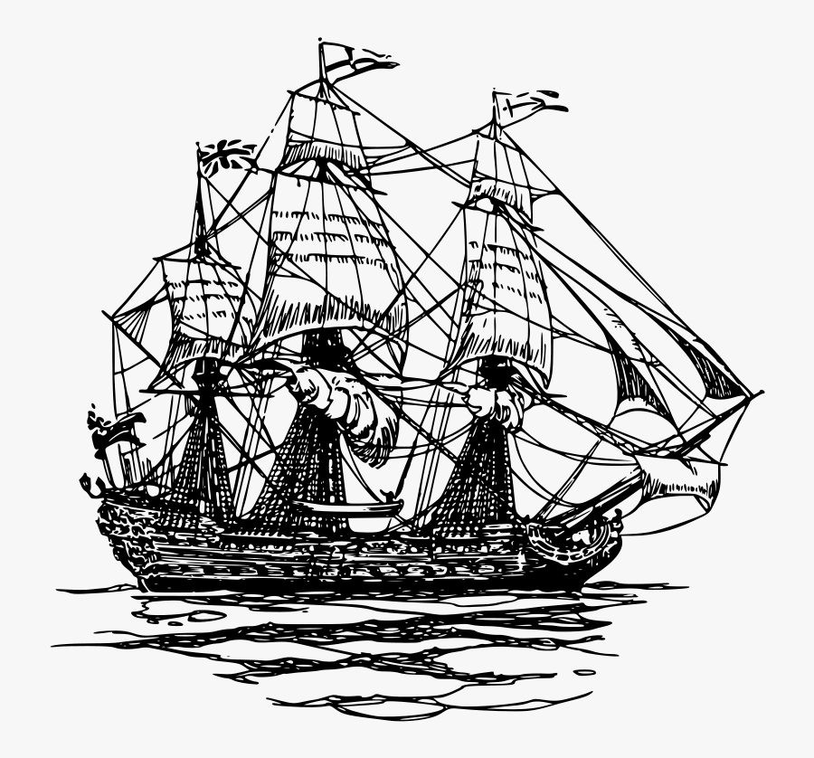 East Clipper - Pirate Ship Drawing Png, Transparent Clipart