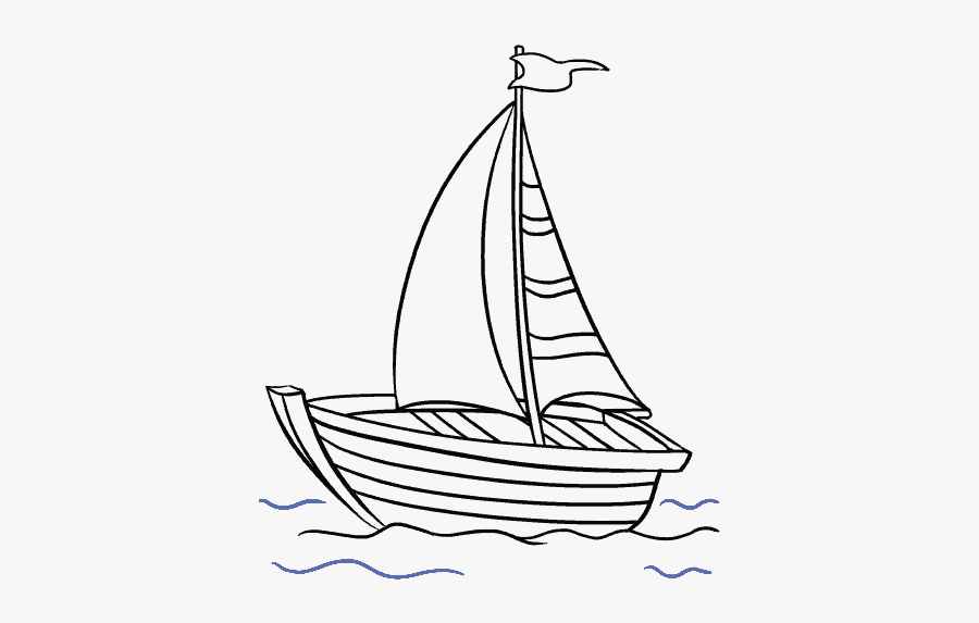 Clip Art Boat Line Drawing - Easy Fishing Boat Drawings, Transparent Clipart