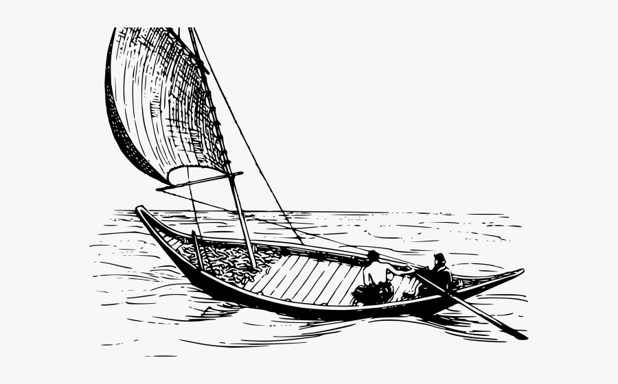 Boat With Man & Sail Clipart, Transparent Clipart