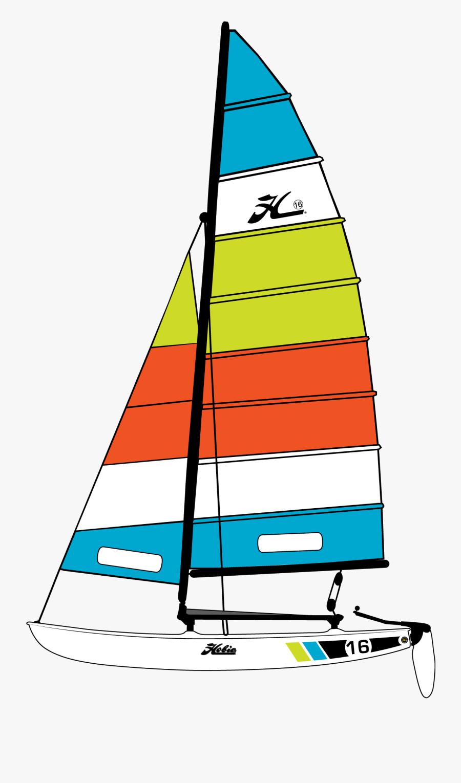 Clip Art Sailboat Color - Hobie Cat 16 Sail, Transparent Clipart