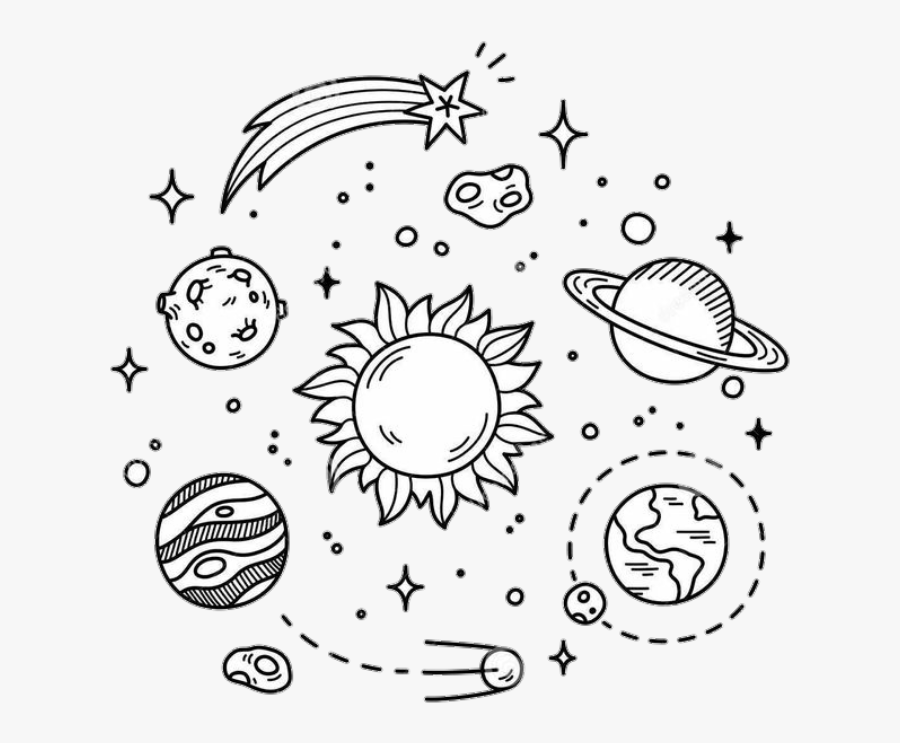 Tumblr Planets Blackandwhite Galaxy Stars Black&white - Black And White Drawings Simple, Transparent Clipart