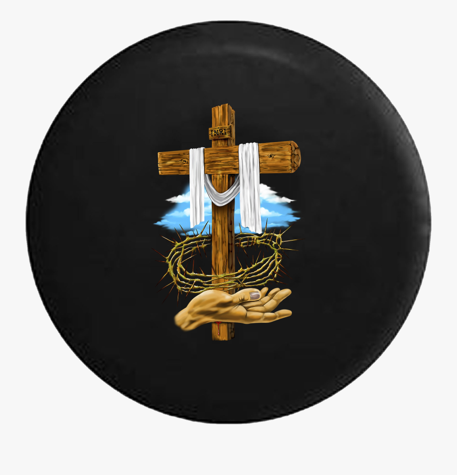 Wooden Cross Crown Of Thorns Jesus God Blessed Life - Wooden Jesus Cross Hd, Transparent Clipart