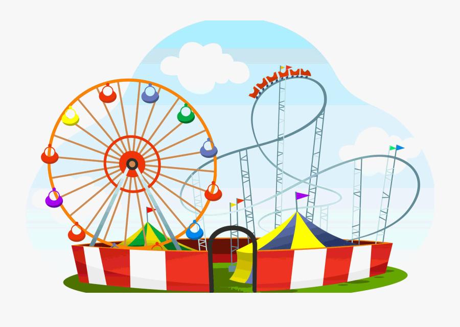Amusement Park Transparent - Amusement Park Cartoon Drawing, Transparent Clipart