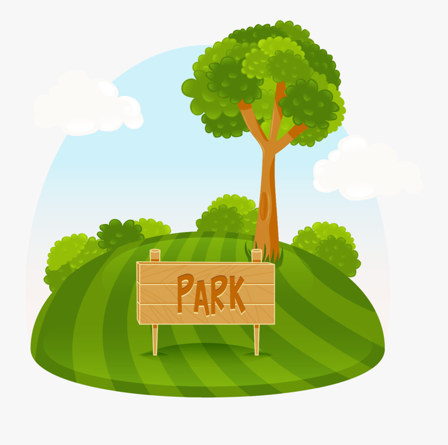 Amusement Park Tree Illustration - Park Cartoon Clip Art, Transparent Clipart