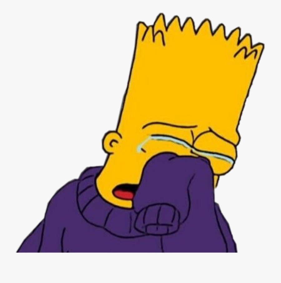 Sad Miserable Simpsons Cry Crying Hurt Freetoedit Clipart - Draw Bart Simpson Crying, Transparent Clipart