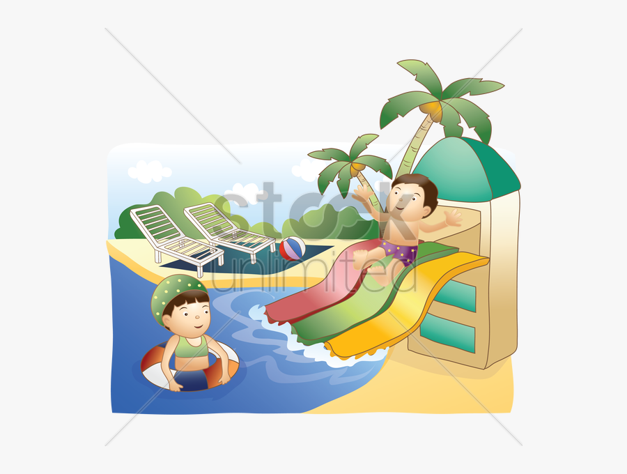 Kids Having Fun In - Kids Water Park Vector, Transparent Clipart
