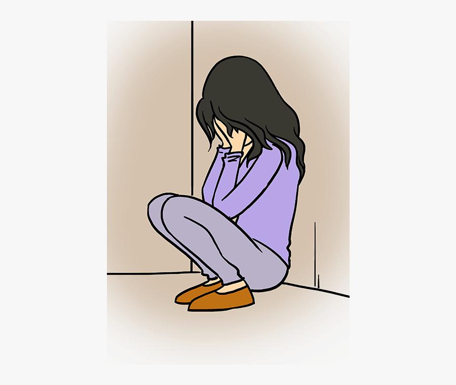 How To Draw A Sad Girl Crying - Sad Girl Crying Cartoon, Transparent Clipart