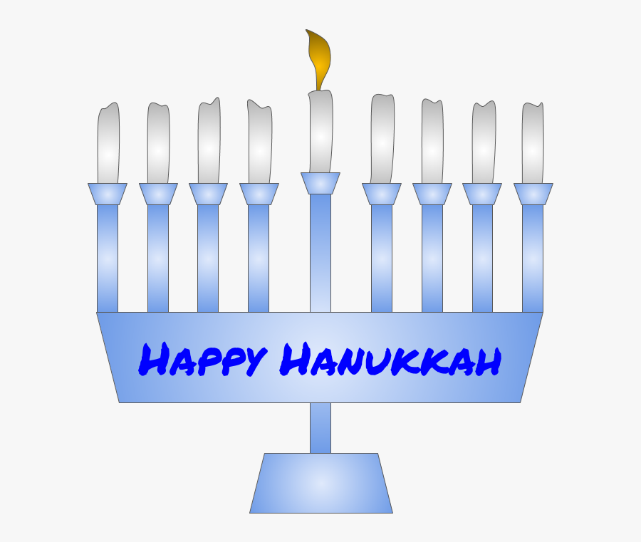 Menorah, Hanukkah, Shamash Candle Lit, Blue - Graphic Design, Transparent Clipart