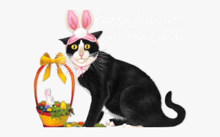 Happy Easter Cat Clipart, Transparent Clipart