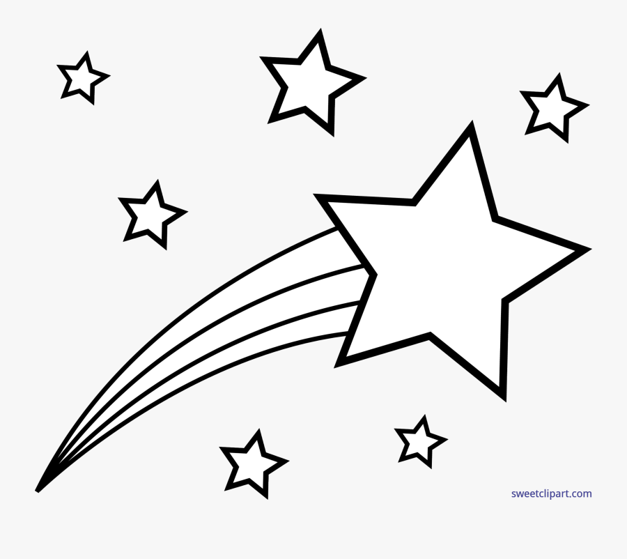 Outer Space Shooting Lineart - Shooting Star Clipart Black And White, Transparent Clipart
