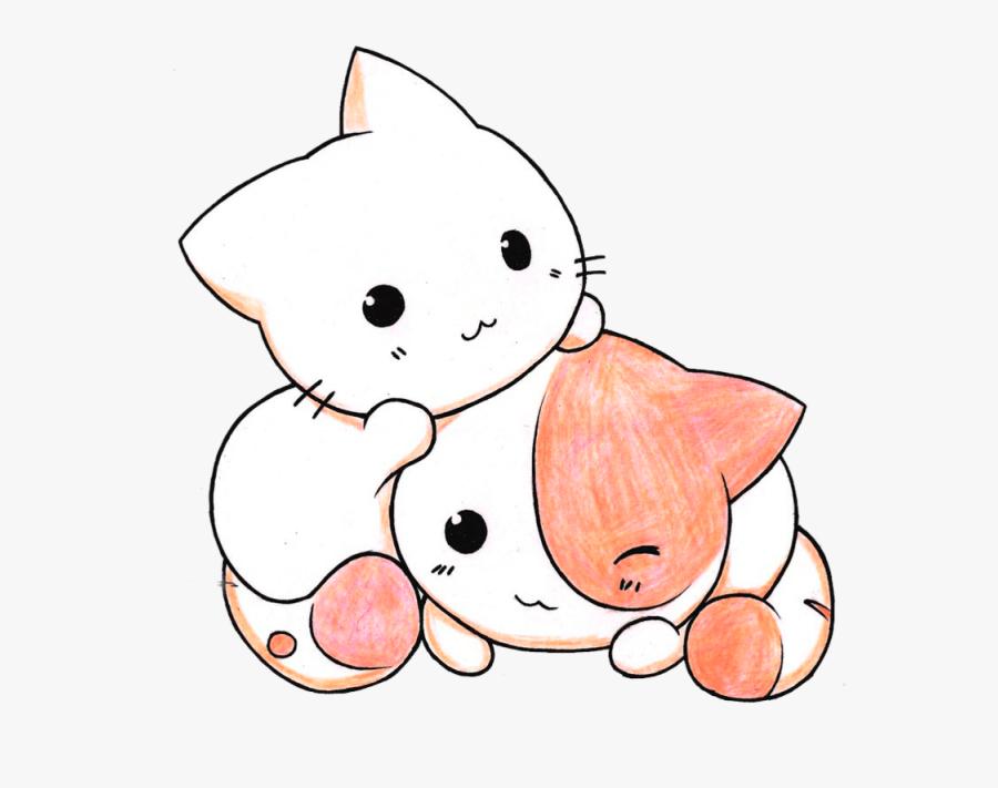 Kitten Clipart Kawaii Pencil And In Color Kitten Clipart - Cute Kawaii Cats, Transparent Clipart