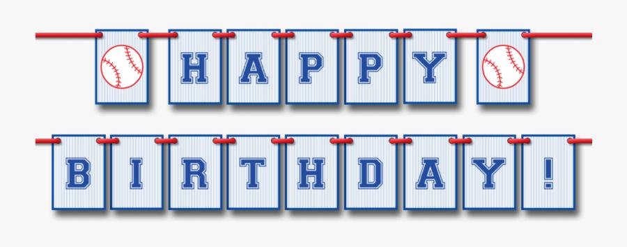 Baseball Happy Birthday Pennant Banner - Happy Birthday Banner Baseball, Transparent Clipart