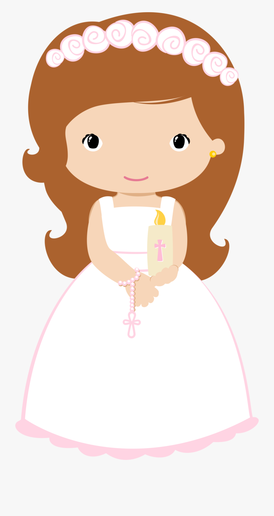 4shared - Clipart Communion Girl Png Wave Hair, Transparent Clipart