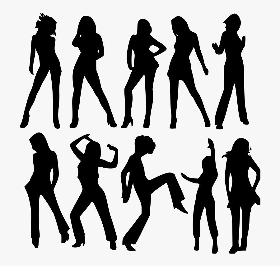 Standing,human Behavior,silhouette - Group Woman Silhouette Png, Transparent Clipart