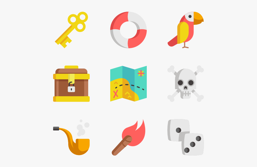 Pirates - Open Chest Flat Icon, Transparent Clipart