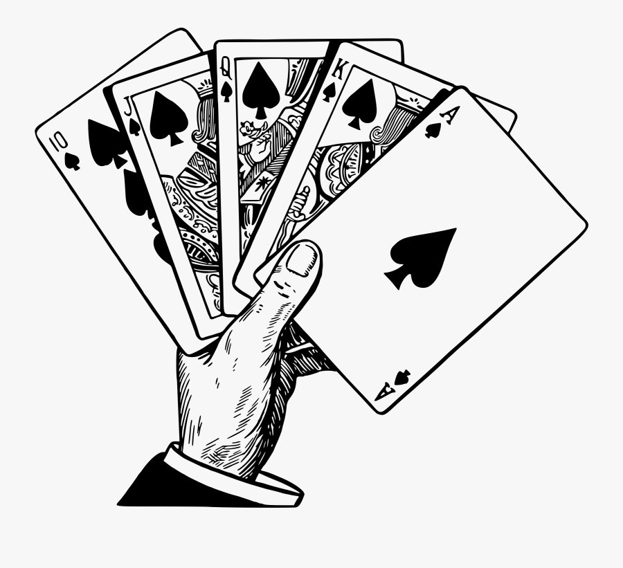 Clip Art People Playing Cards Clipart - Playing Cards Line Art, Transparent Clipart