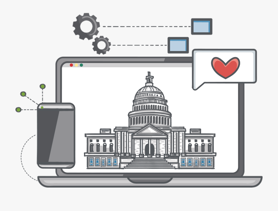 An Image Of A Government Building Being Rendered In - Digital Government Icon Free, Transparent Clipart