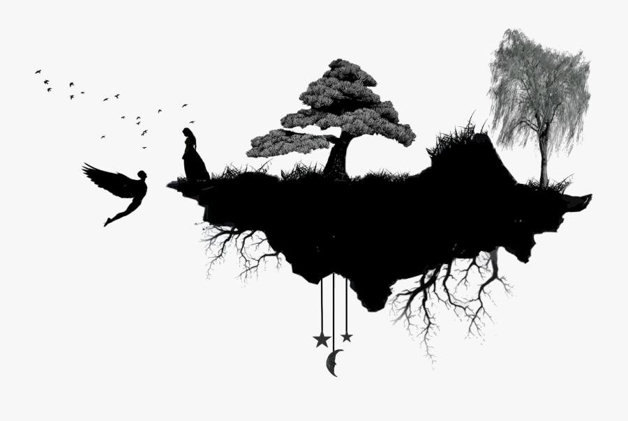 Silhouette,monochrome Photography,tree - Floating Island Silhouette, Transparent Clipart