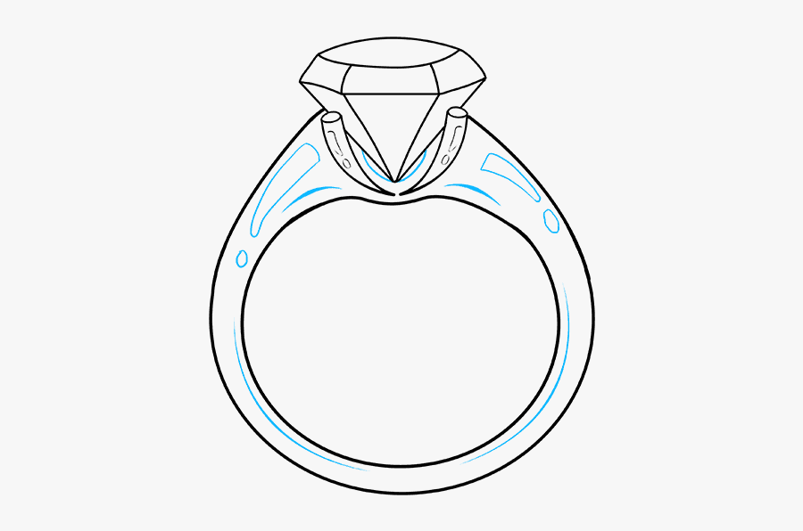 How To Draw Diamond Ring - Draw An Engagement Ring, Transparent Clipart