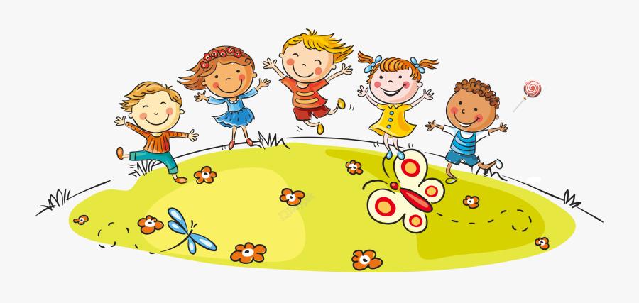 Cartoon Children Playing - Transparent Children Cartoon, Transparent Clipart