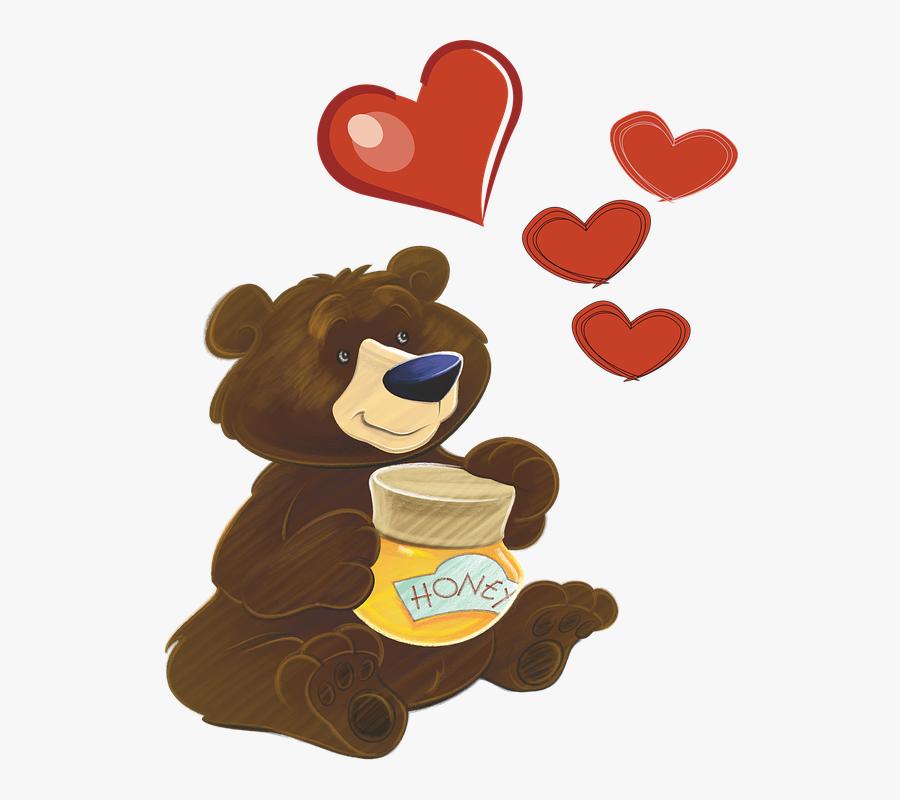 Bear, Heart, Honey, Love, Nature, Pink, Clip, Art - Bear Moral Stories In Hindi, Transparent Clipart