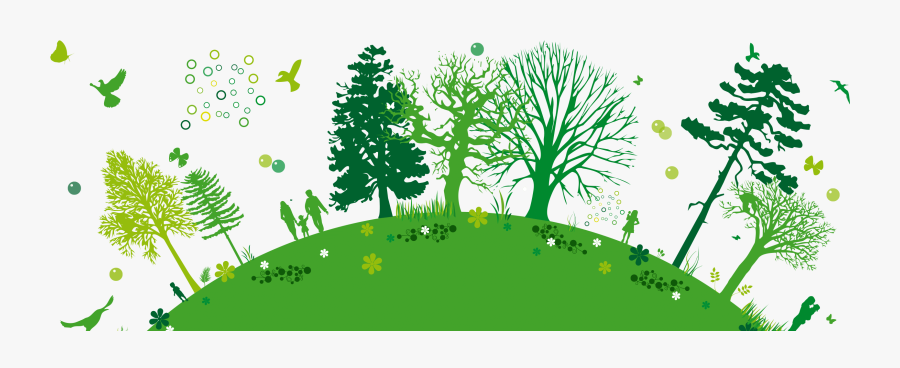 Green,people In Landscape,natural Stem,landscape,clip - Powerpoint Template Green Environment, Transparent Clipart