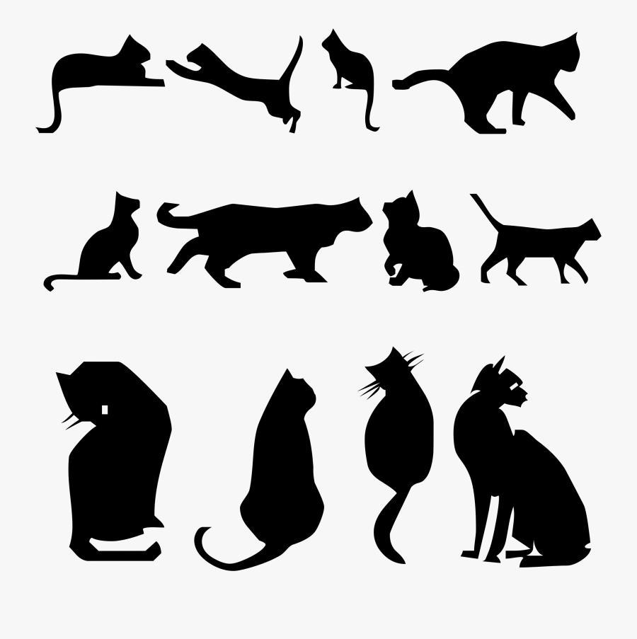 Wildlife,silhouette,paw - Silhouette Cat Kitten Clipart, Transparent Clipart