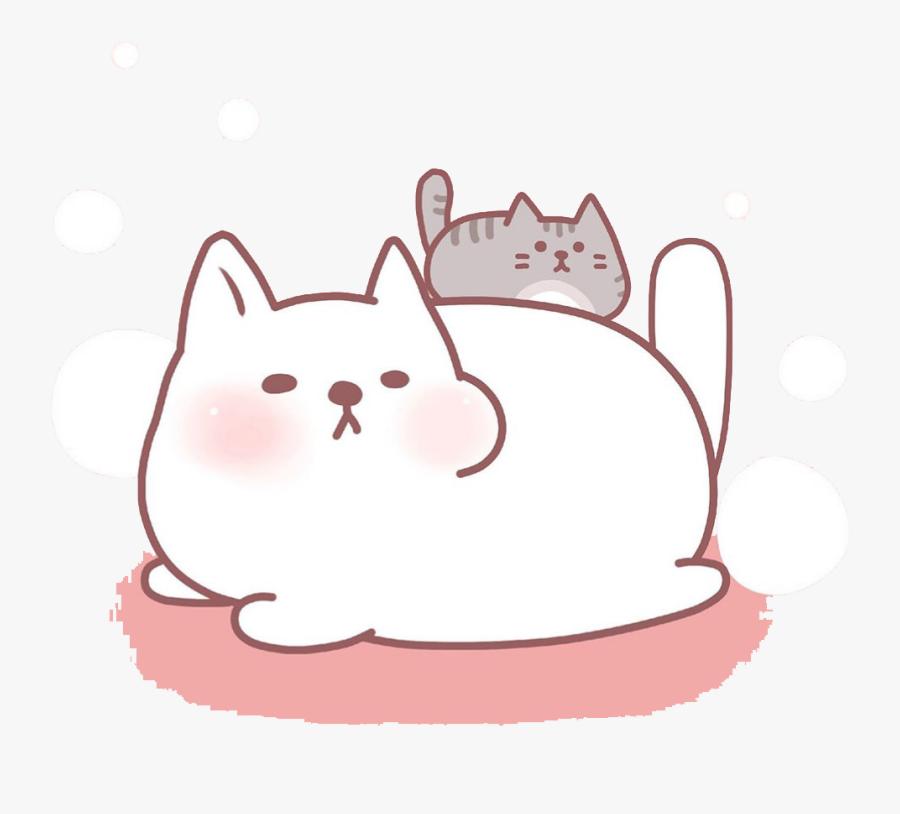 Transparent Kitten Clipart - Cute Cat And Kitten Drawing, Transparent Clipart