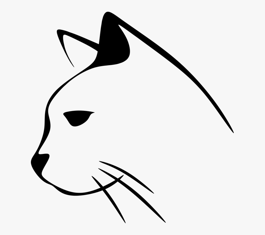 Animal, Cat, Kitten, Kitty, Pet, Silhouette - Cat Side Face Vector, Transparent Clipart