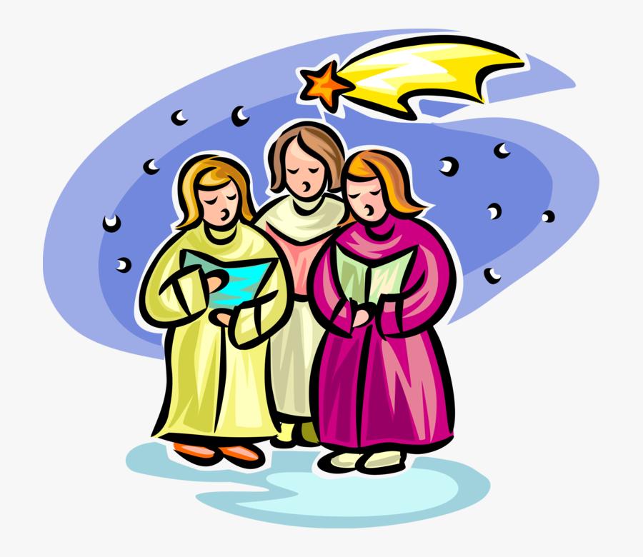 Vector Illustration Of Holiday Festive Season Christmas - Christmas Carolers Clip Art, Transparent Clipart