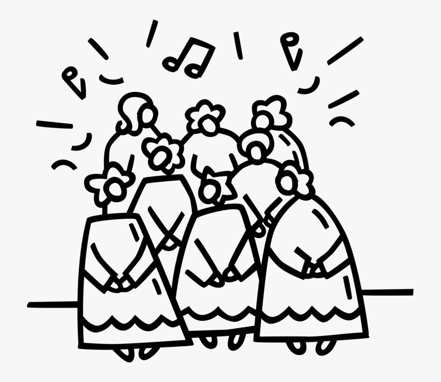 Vector Illustration Of Holiday Festive Season Christmas - Choir, Transparent Clipart