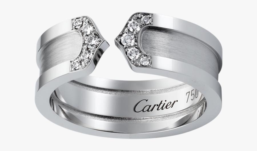 Clip Art Heartbeat Wedding Rings - Cartier C Diamond Ring, Transparent Clipart