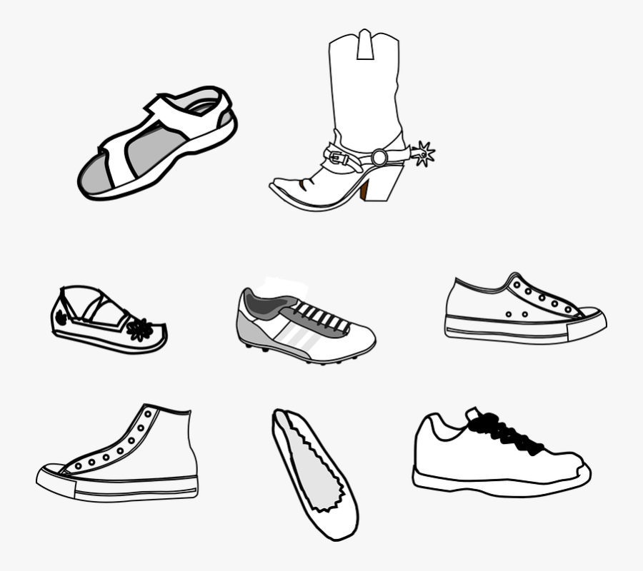 Footwear, Shoes, Sneakers, Trainers, Cowboy Boots - Shoes Outline Clip Art, Transparent Clipart