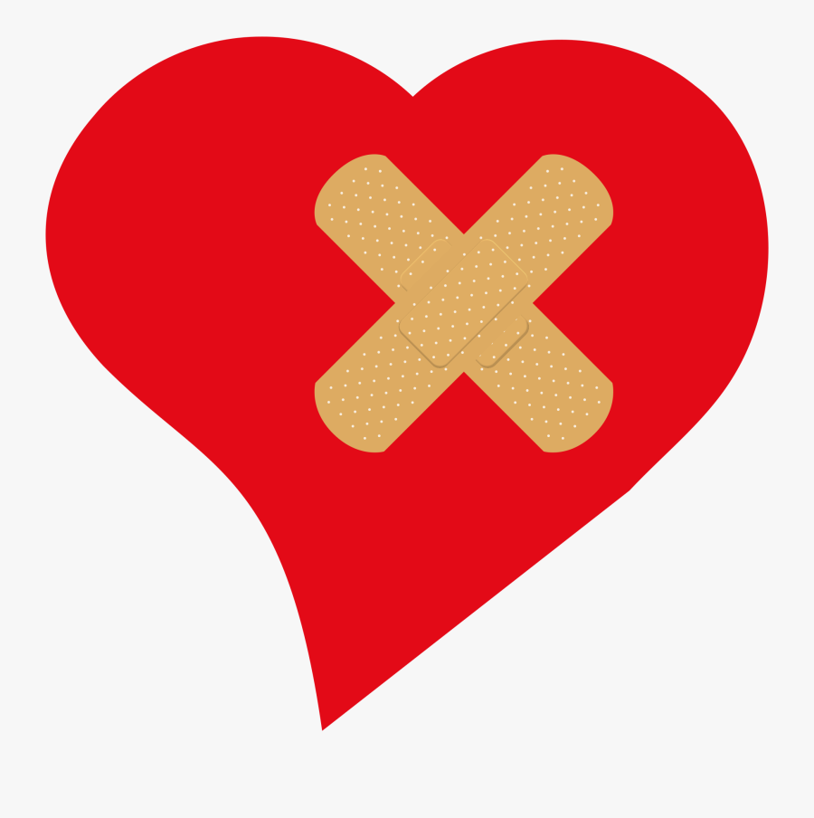Clip Art Collection Of Free Bandaging - Heart With Bandaid Png, Transparent Clipart