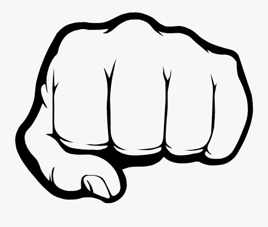 Fist Bump Raised Fist Clip Art - Black And White Fist Emoji, Transparent Clipart