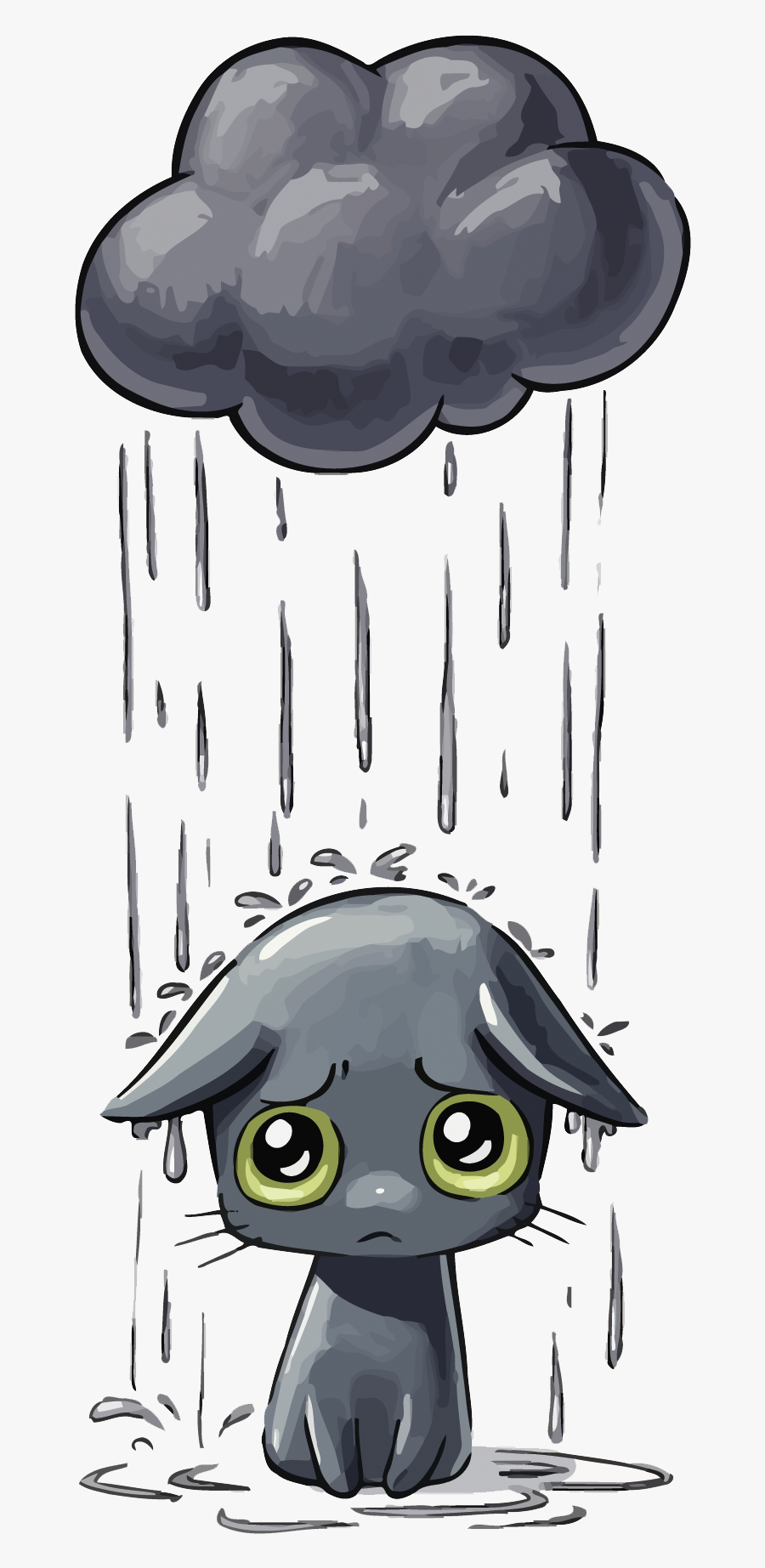 Transparent Sad Clipart - Sad Cat In Rain, Transparent Clipart