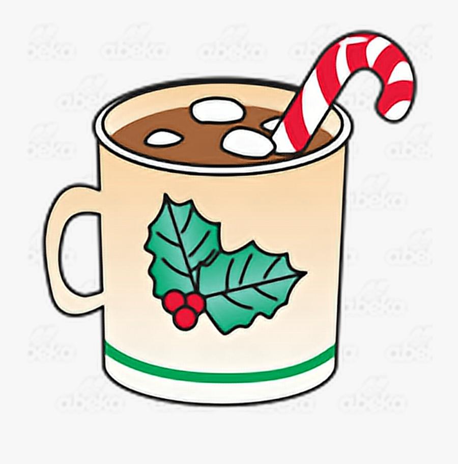 Xmas Christmas Navidad Chocolate Marshmallow Hotchocola - Hot Chocolate With Marshmallows And Candy Cane, Transparent Clipart