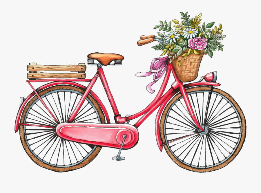Bicycle Wedding Invitation Save The Date Watercolor - Vintage Bicycle Wallpaper Iphone, Transparent Clipart