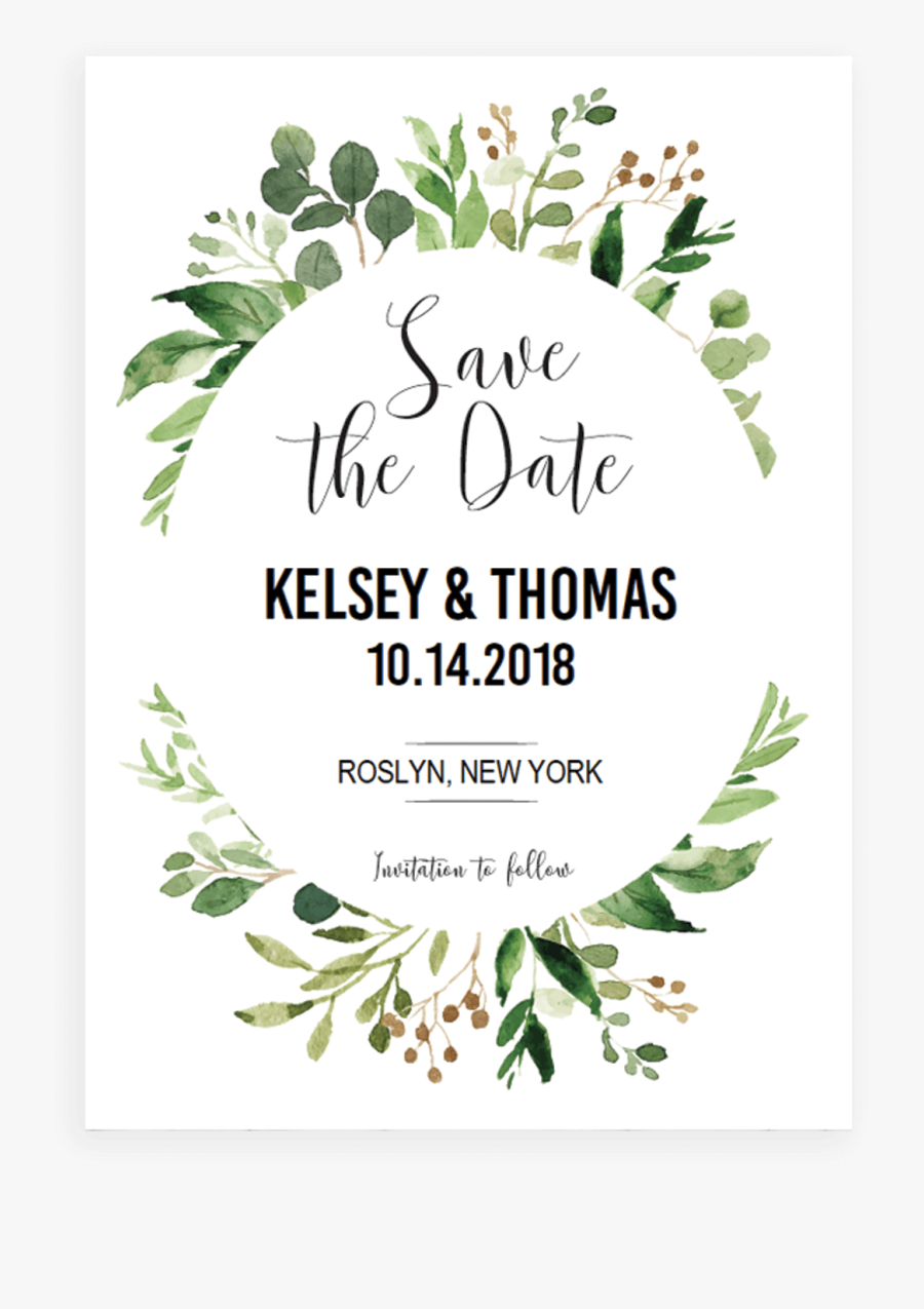 Clip Art Save The Date Card Template - Save The Date Template Png, Transparent Clipart