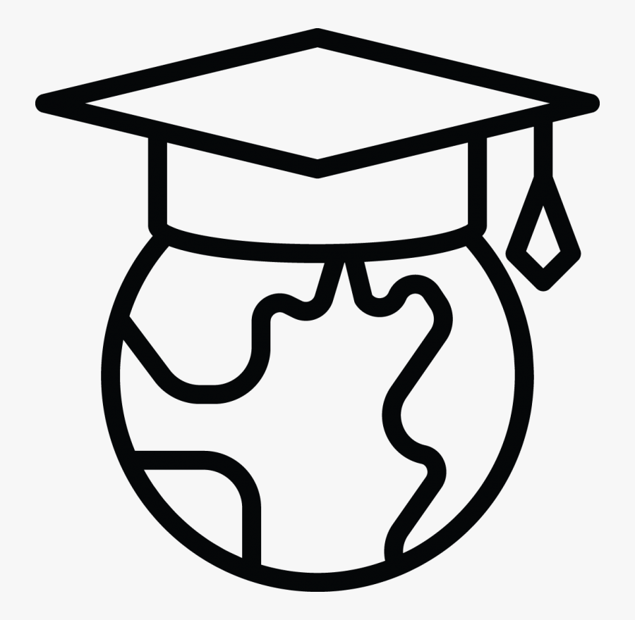 Global Earth Icon - Black And White Student Clipart, Transparent Clipart