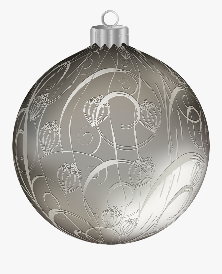 Silver Christmas Ball With Ornaments Png Clipart Image - Silver Christmas Ornament Png, Transparent Clipart