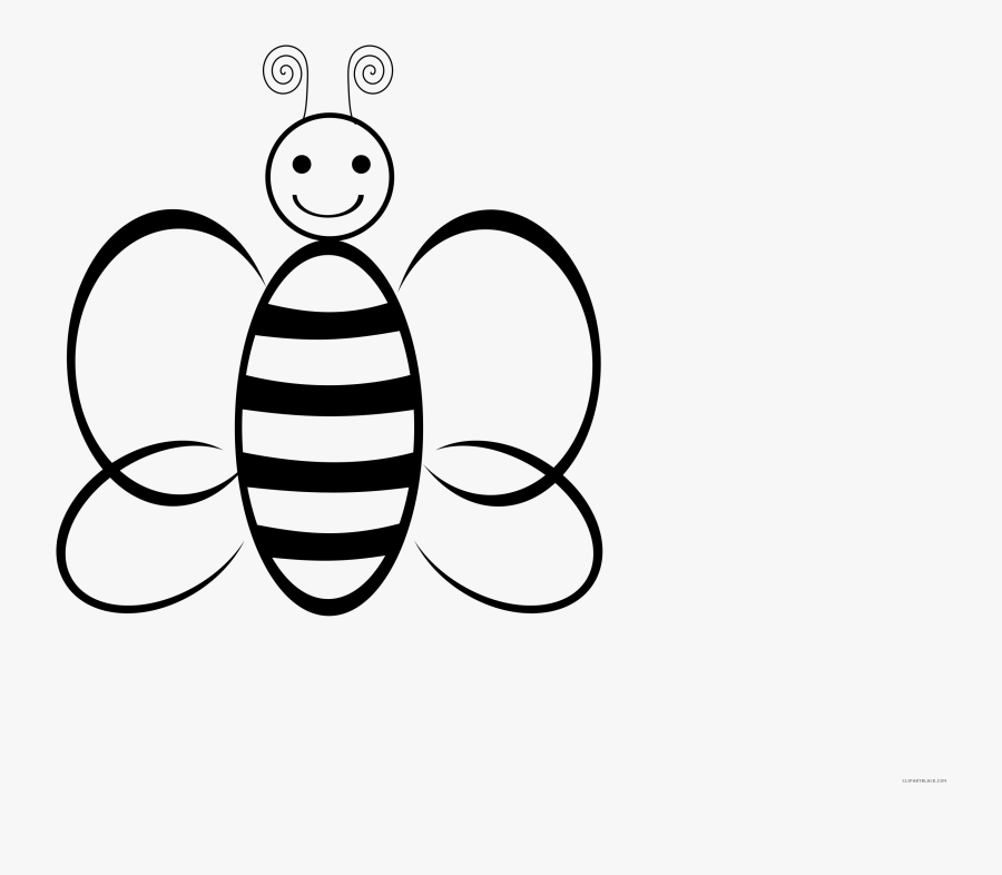 Clipart Bee Black And White - Bee Cartoon Black And White, Transparent Clipart