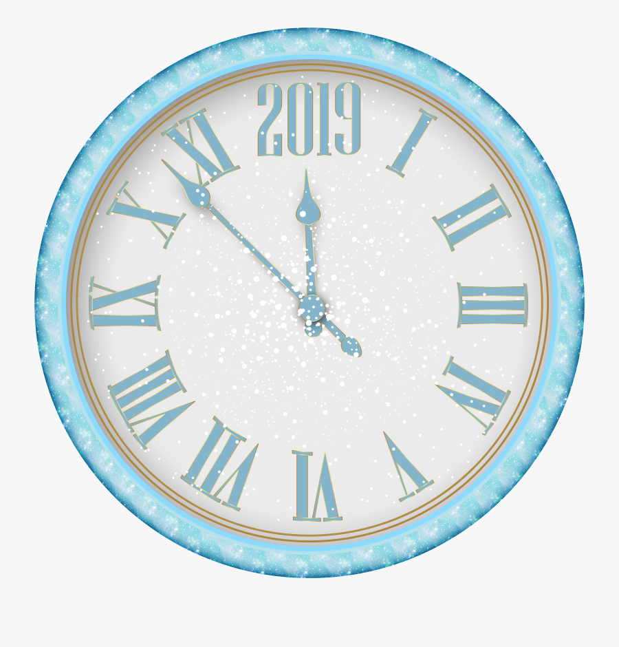 2018 New Year Snowy Clock Png Clip Art - New Years Eve Clock Png, Transparent Clipart
