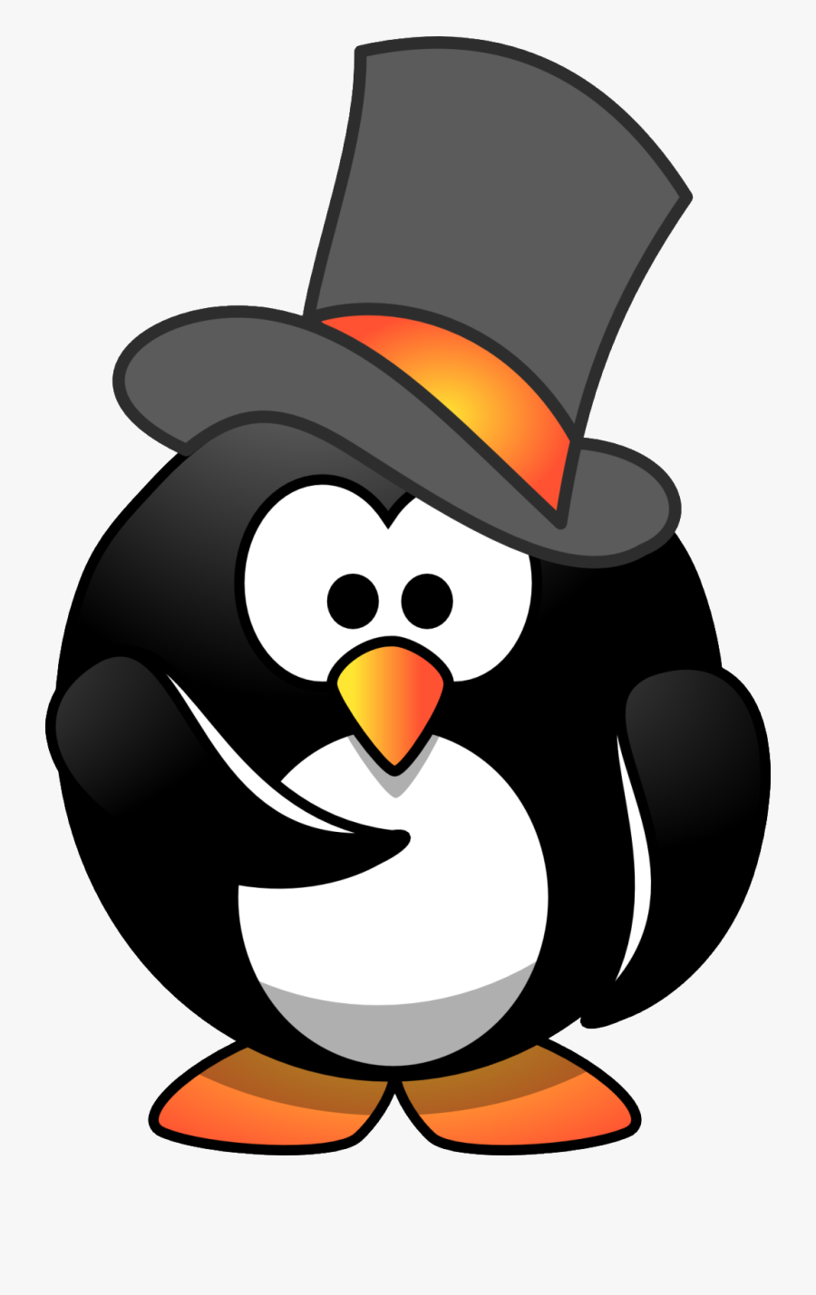 Top Hat Clipart Small - Cartoon Penguin With A Top Hat, Transparent Clipart