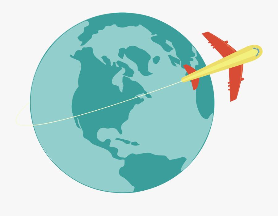 World Map Clip Art A Plane That - Black And White Globe Transparent, Transparent Clipart