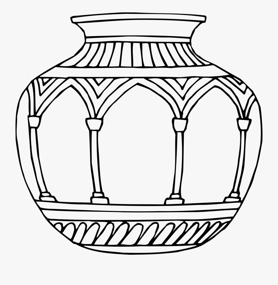 Vase 10 Line Drawing - Design Vase Drawing, Transparent Clipart