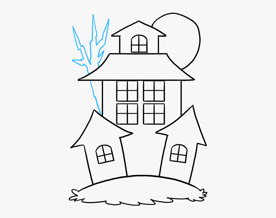 Old Haunted House Drawing Easy, Transparent Clipart